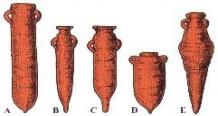 A- Anfora Fenicio-Punica (VII Sec. a.C.); B- Anfora Punica (II Sec. a.C.); C- Anfora Punica (I Sec. a.C.); D- Anfora Punica recente