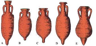 """A- Anfora spagnola della Letania (I - II Sec. d.C.)""""; B-C- Anfora da salamoia (I - II Sec. d.C.); D-E- Anfora piriformi da salamoia (I - II Sec. d.C.)"""