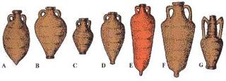 A- Anfora gallica o tardo imperiale olearia (I - III Sec. d.C.); B-C- Anfora gallica (I - III Sec. d.C.); D-E-F- Anfora gallica del Basso impero (I - III Sec. d.C.); G- Anfora gallica (I - III Sec. d.C.)