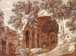 Il ninfeo raffigurato in un stampa ottocentesca