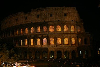 Colosseum on fire